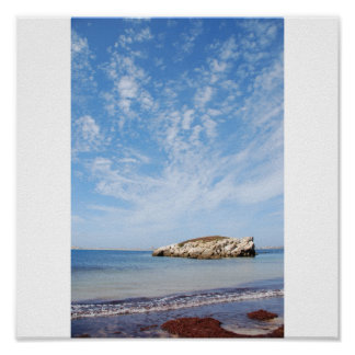 Huge rock at Baleal beach (dramatic cloudscape) Poster