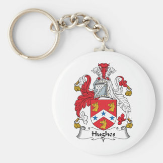 Hughes Family Crest Basic Round Button Key Ring