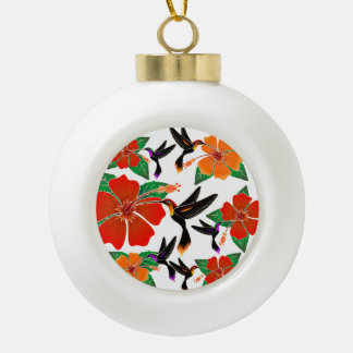 Hummingbird and Hibiscus Batik Ornament