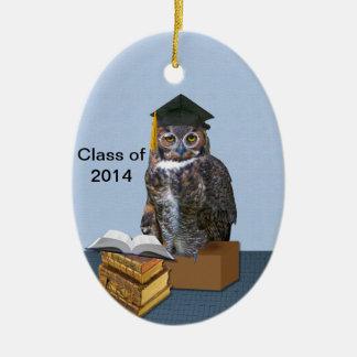 Humorous Class of 2014 Graduation Owl Ceramic Oval Decoration
