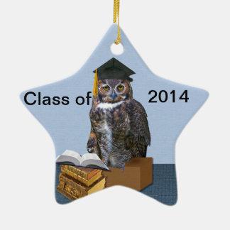 Humorous Class of 2014 Graduation Owl Ceramic Star Decoration