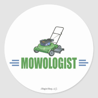 Humorous Lawn Mowing Round Sticker
