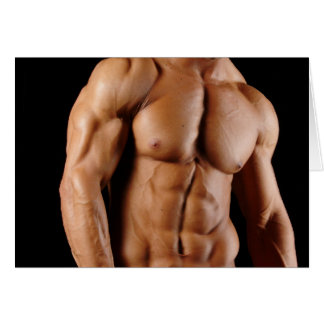 Hunky Male Bodybuilder Note Card