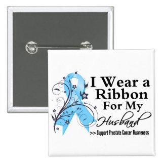 Husband Prostate Cancer Ribbon 15 Cm Square Badge