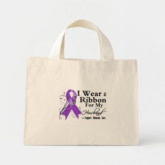 Husband Purple Ribbon - Pancreatic Cancer Mini Tote Bag