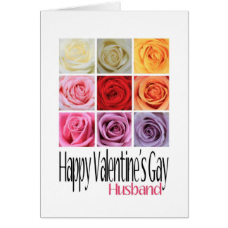 Husband Valentine's Gay, Rainbow Roses Greeting Card