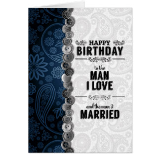 Husband's Birthday for Gay Marriage in Blue Greeting Card