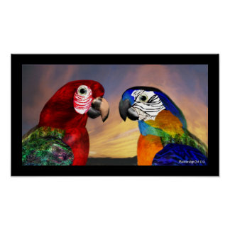 HYPER PARROTS / RED AND BLUE ARA POSTER