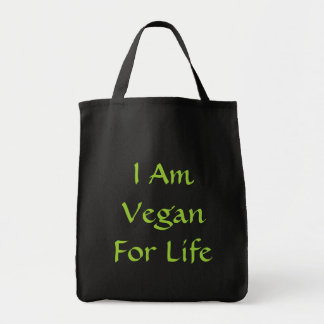 I Am Vegan For Life. Green. Slogan. Custom Grocery Tote Bag