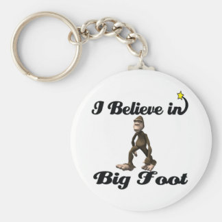 i believe in big foot basic round button key ring