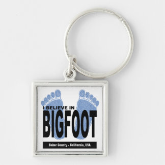 I Believe in Bigfoot Silver-Colored Square Key Ring