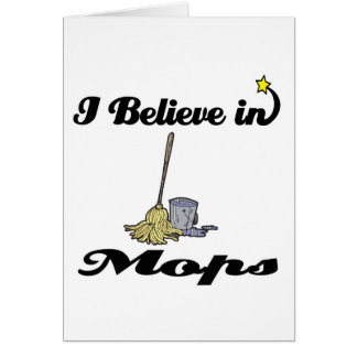 i believe in mops greeting card