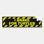 I brake for turtles funny yellow caution sticker bumper sticker