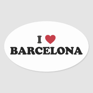 I Heart Barcelona Spain Oval Sticker