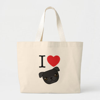 I Heart Black Pugs Jumbo Tote Bag