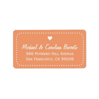 I Heart Dots - Coral Address Label