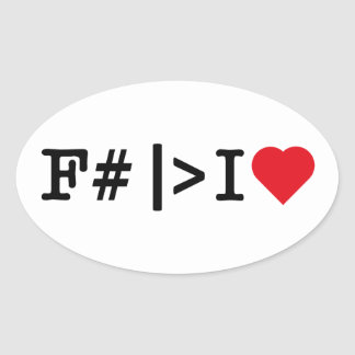 I Heart F# oval sticker