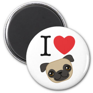 I Heart Fawn Pugs 6 Cm Round Magnet
