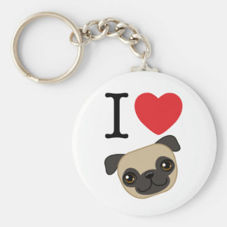 I Heart Fawn Pugs Basic Round Button Key Ring