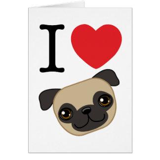 I Heart Fawn Pugs Greeting Card