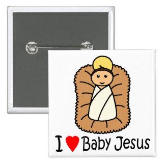 I Heart (Love) Baby Jesus 15 Cm Square Badge