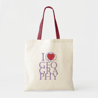 I heart (love) Geography Budget Tote Bag