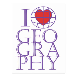 I heart (love) Geography Postcard