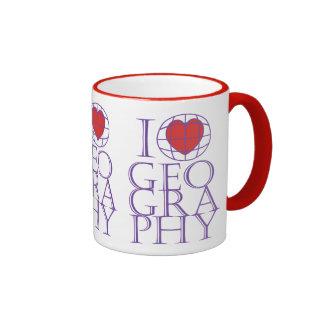 I heart (love) Geography Ringer Mug