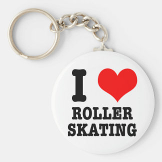 I HEART (LOVE) ROLLER SKATING BASIC ROUND BUTTON KEY RING