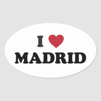 I Heart Madrid Spain Oval Sticker