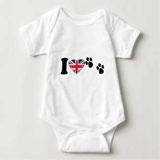 I Heart Paw Prints with 3D Union Jack Heart Design Infant Creeper