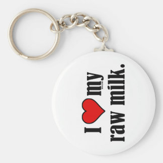I Heart Raw Milk Basic Round Button Key Ring