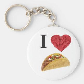 i heart tacos basic round button key ring