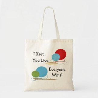 I Knit, You Live Funny Knitting Design Budget Tote Bag