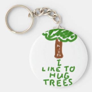 I Like to Hug Trees Basic Round Button Key Ring