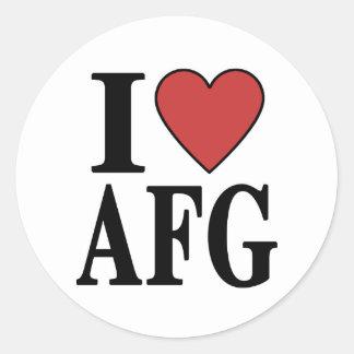I Love AFG Round Sticker