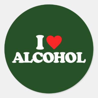 I LOVE ALCOHOL ROUND STICKER