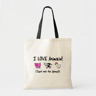 I Love Animals Vegetarian Budget Tote Bag