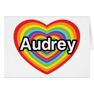 I love Audrey, rainbow heart Greeting Card