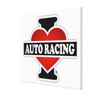 I Love Auto Racing Canvas Print