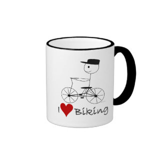 I Love Biking Gifts and Apparel Ringer Mug