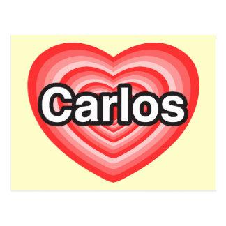 I love Carlos. I love you Carlos. Heart Postcard