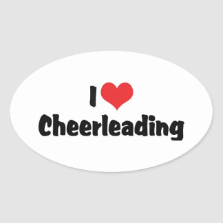 I Love Cheerleading Oval Sticker