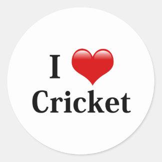 I Love Cricket Round Sticker