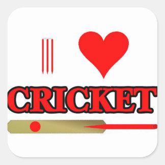 I Love Cricket Square Sticker