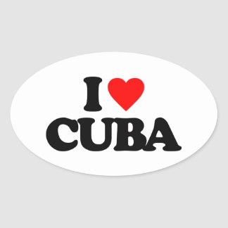 I LOVE CUBA OVAL STICKER