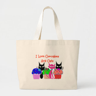 """I love cupcakes and cats""--Cupcake Lovers Gifts Jumbo Tote Bag"