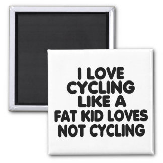 I Love Cycling Square Magnet