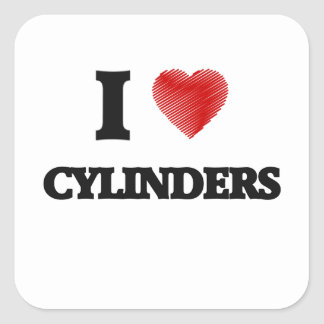 I love Cylinders Square Sticker