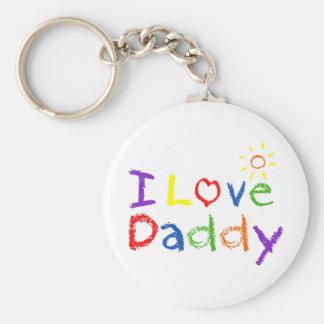 I Love Daddy Basic Round Button Key Ring